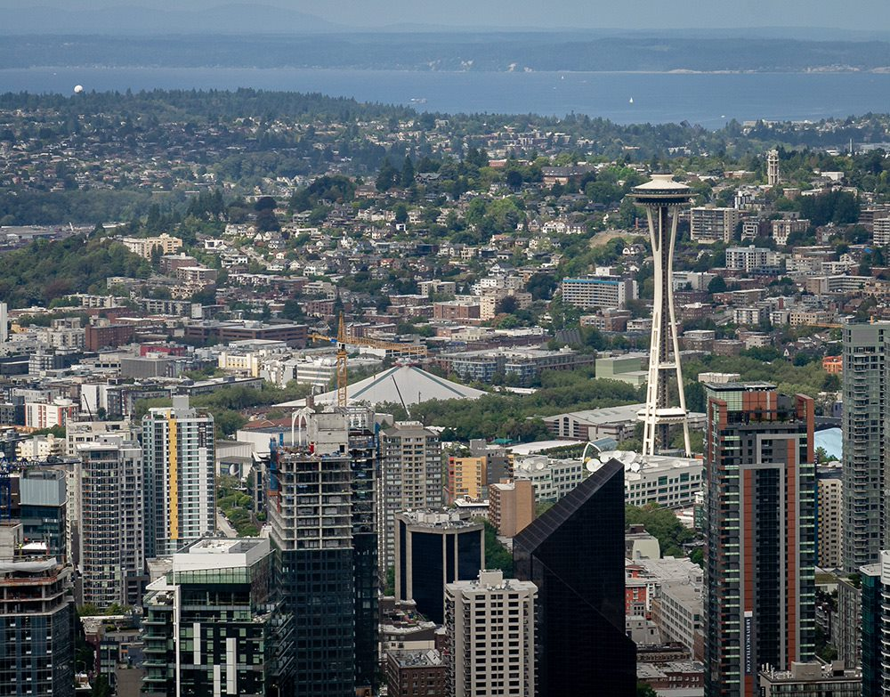 seattle space needle photographed from columbia center